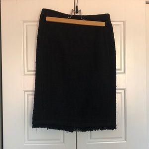 J Crew Black Tweed Pencil Skirt size 0